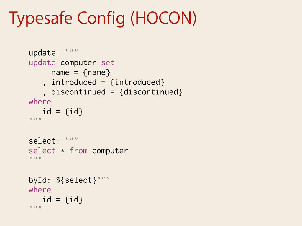 "Typesafe Config (HOCON) update: """""" update comp..."