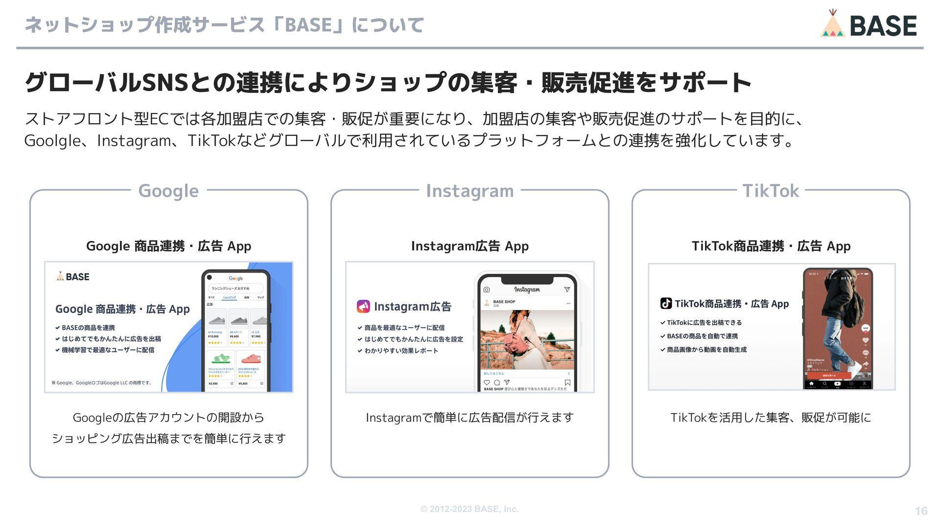 © 2012-2020 BASE, Inc. 16 事業の特長について