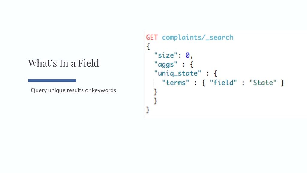 Query unique results or keywords What's In a Fi...