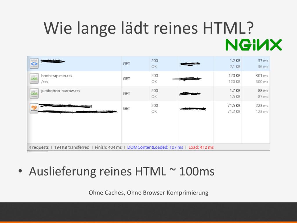 Wie lange lädt reines HTML? • Auslieferung rein...
