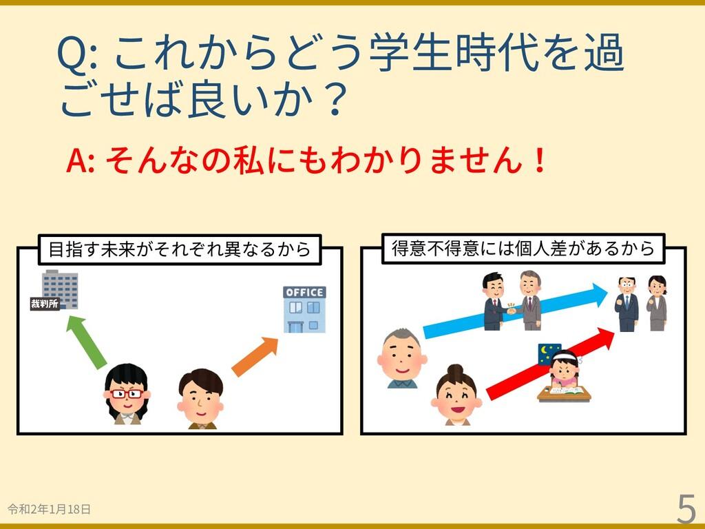 Q: これからどう学⽣時代を過 ごせば良いか? 令和2年1⽉18⽇ 5 ⽬指す未来がそれぞれ異...