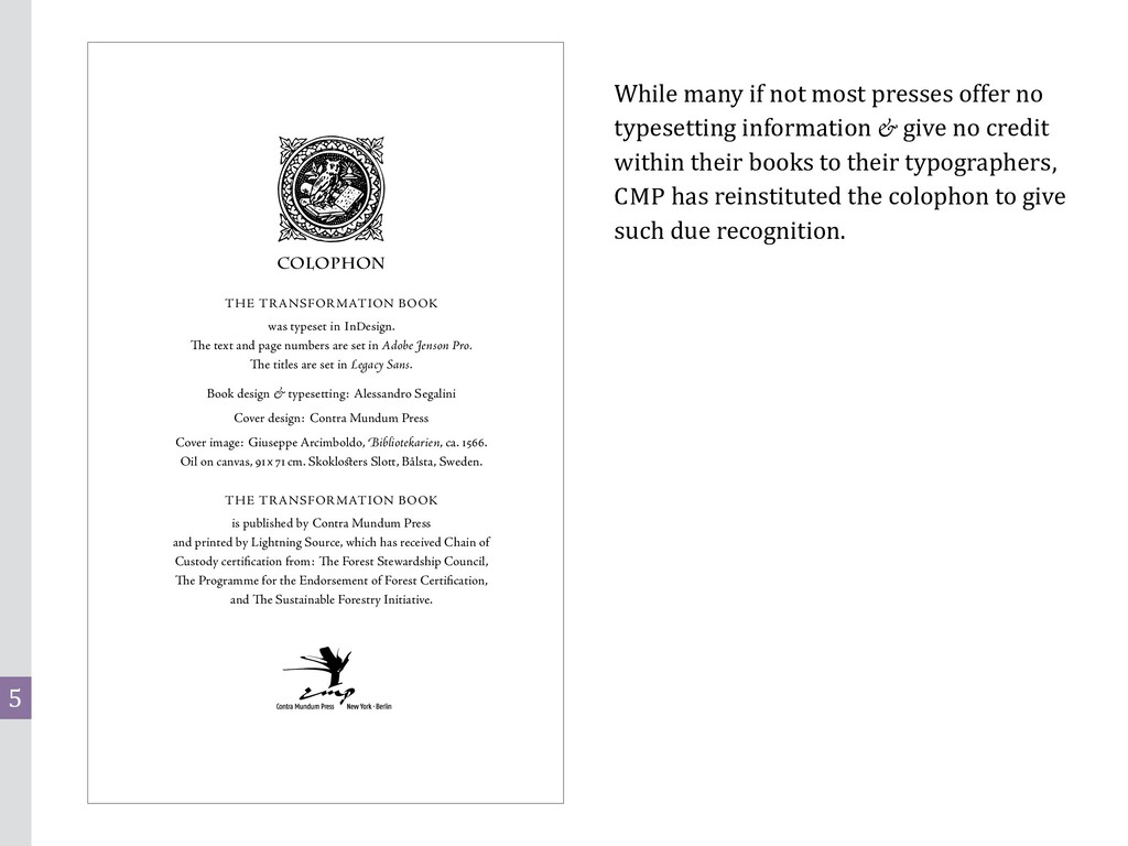 5 COLOPHON THE TRANSFORMATION BOOK was typeset ...