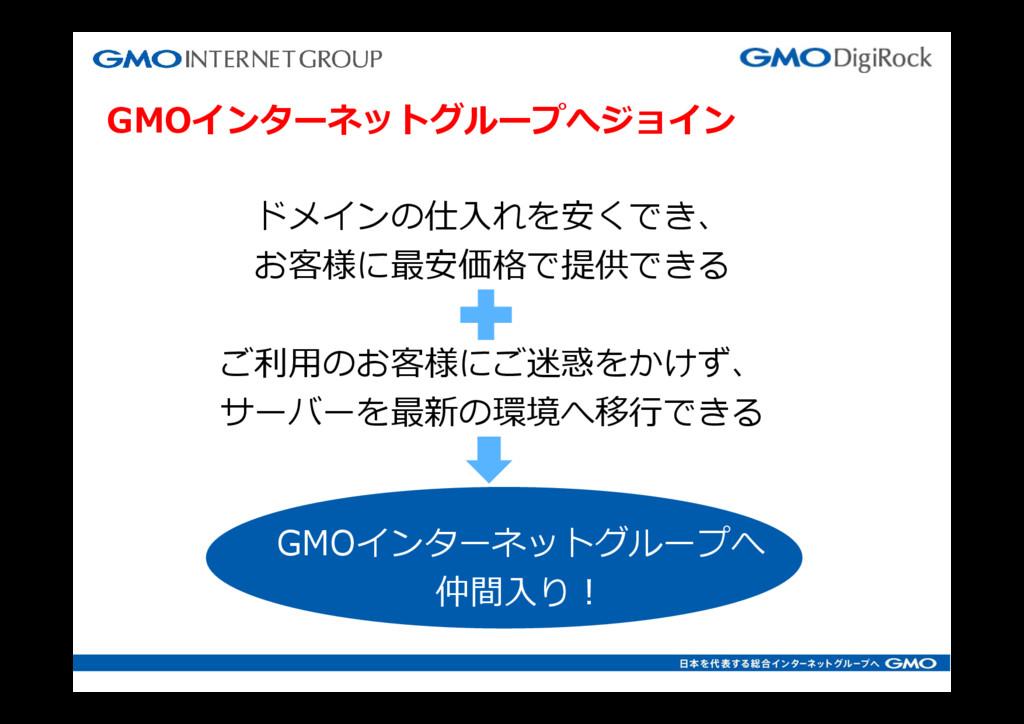 GMOインターネットグループへジョイン ドメインの仕⼊れを安くでき、 お客様に最安価格で提供で...