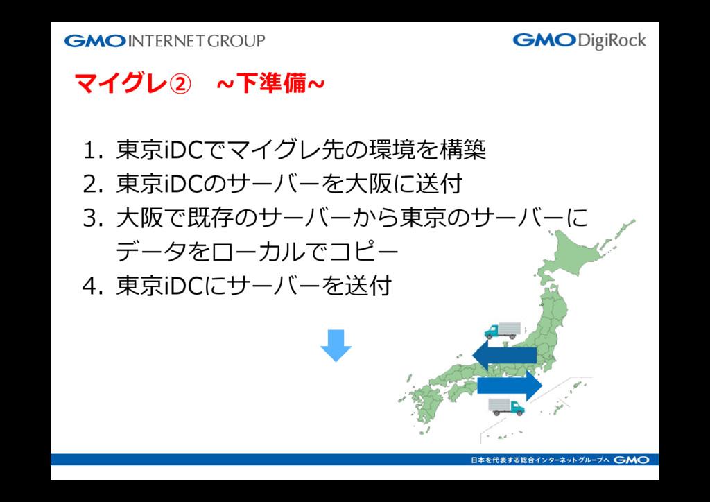 マイグレ② ~下準備~ 1. 東京iDCでマイグレ先の環境を構築 2. 東京iDCのサーバーを...
