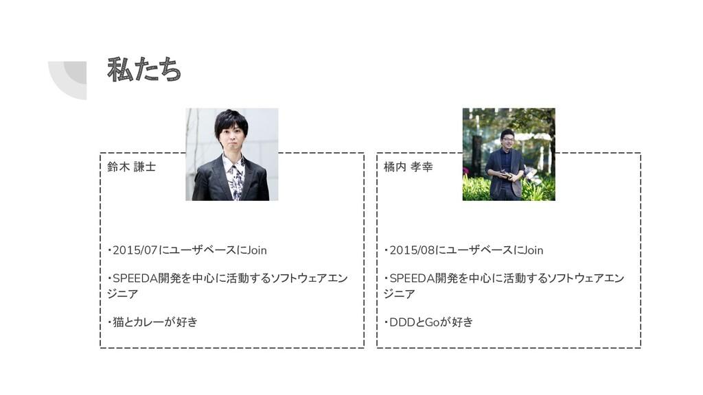私たち 鈴木 謙士 ・2015/07にユーザベースにJoin ・SPEEDA開発を中心に活動す...