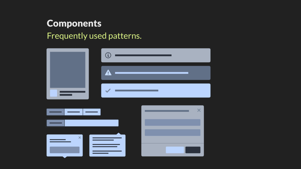Components Frequently used patterns. ! ! ! x x
