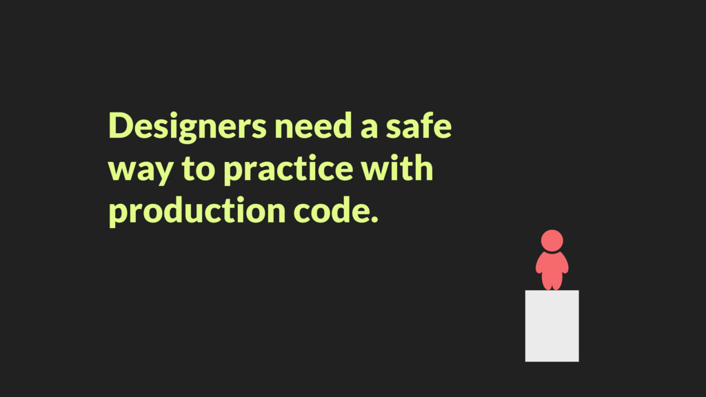 Designers need a safe way to practice with prod...