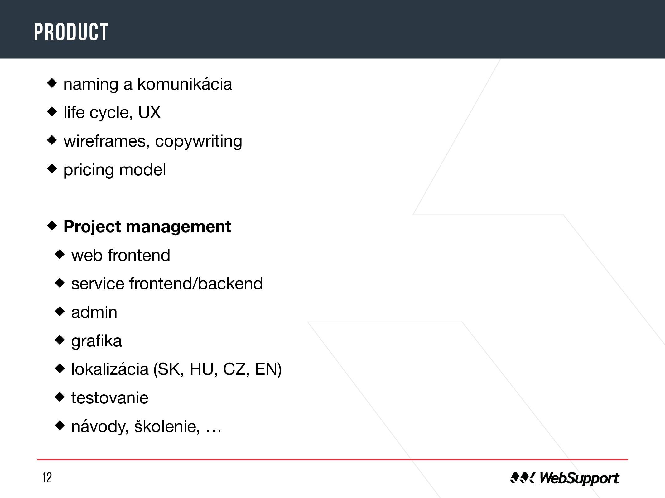 12 product naming a komunikácia  life cycle, UX...