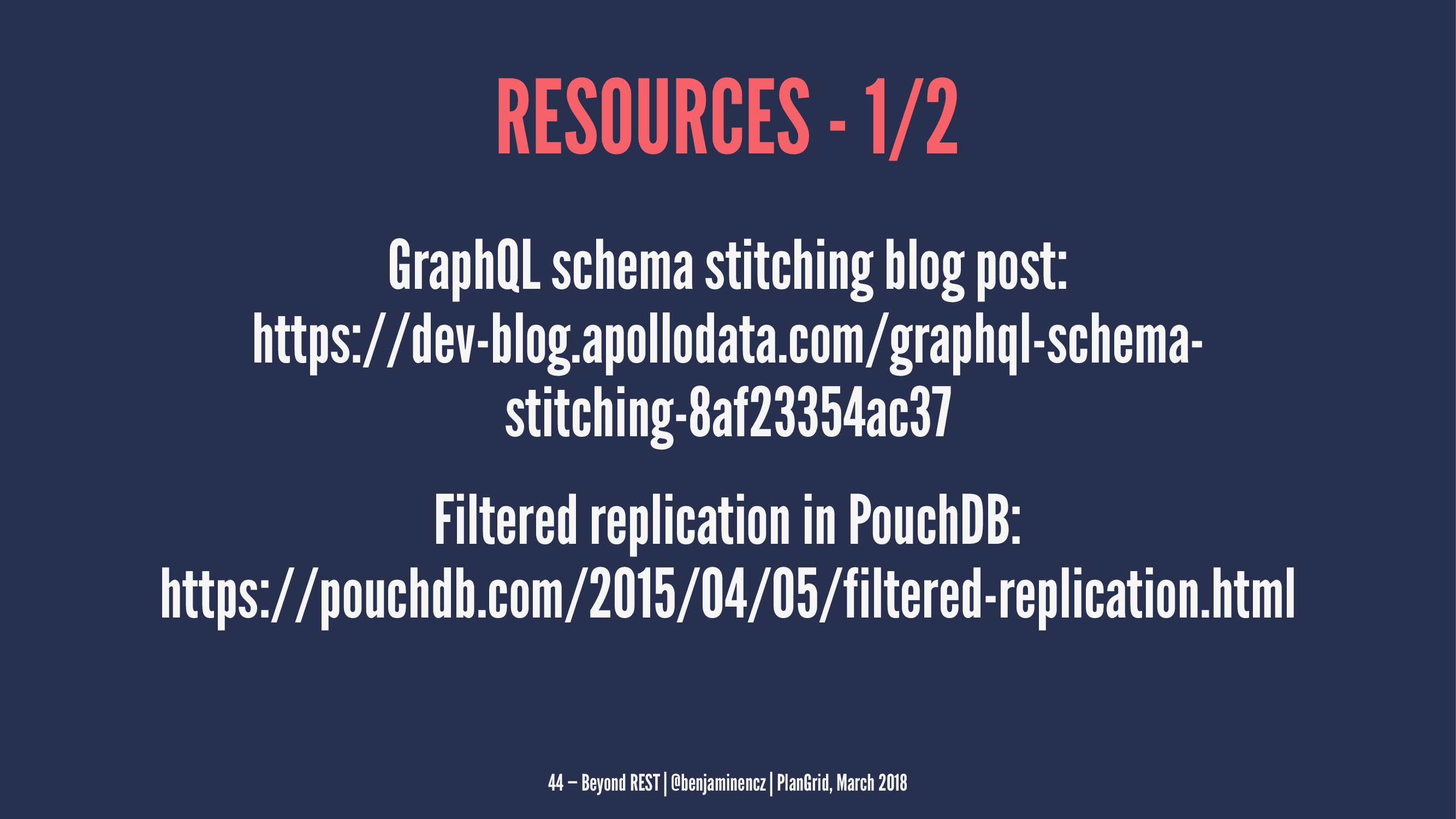 RESOURCES - 1/2 GraphQL schema stitching blog p...