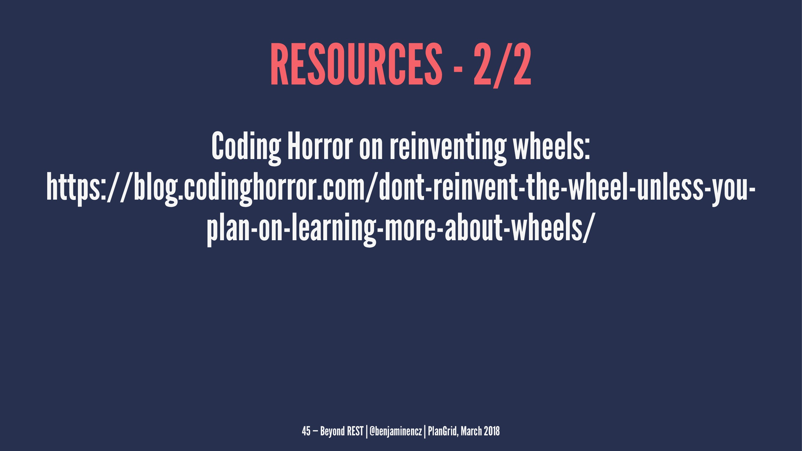 RESOURCES - 2/2 Coding Horror on reinventing wh...