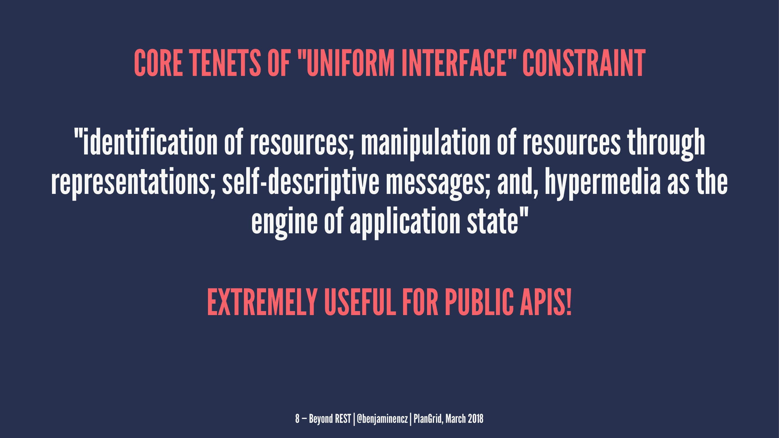 "CORE TENETS OF ""UNIFORM INTERFACE"" CONSTRAINT ""..."