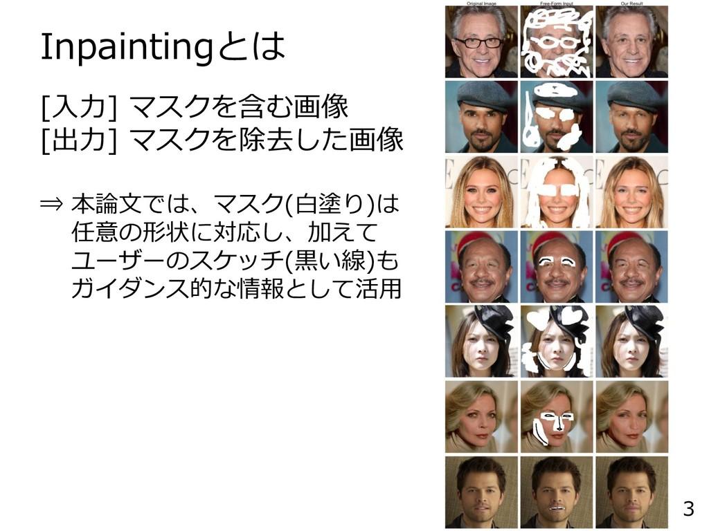 Inpaintingとは 3 [入力] マスクを含む画像 [出力] マスクを除去した画像 ⇒ ...