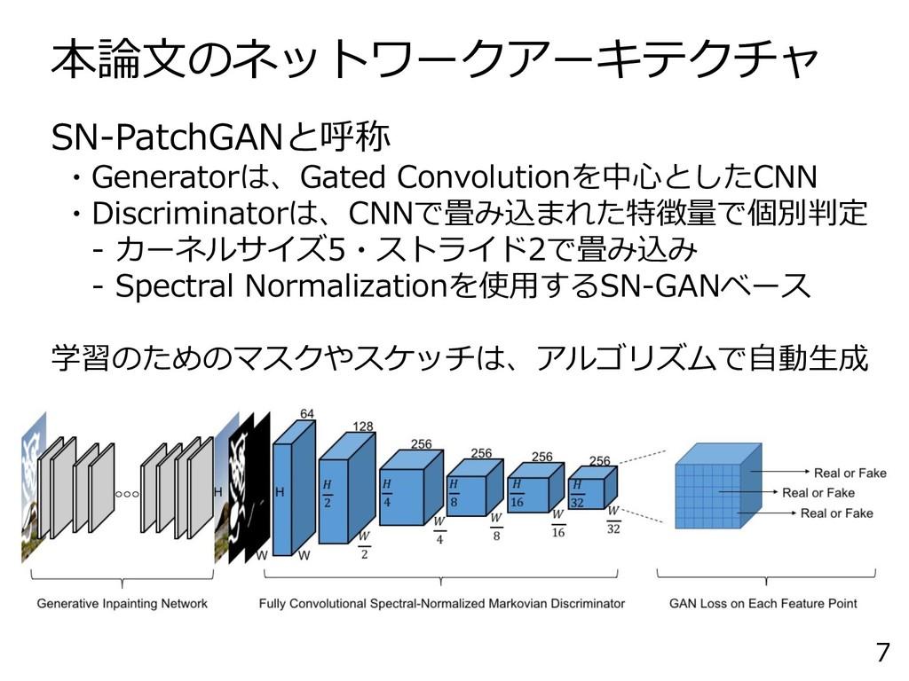 本論文のネットワークアーキテクチャ 7 SN-PatchGANと呼称 ・Generatorは、...