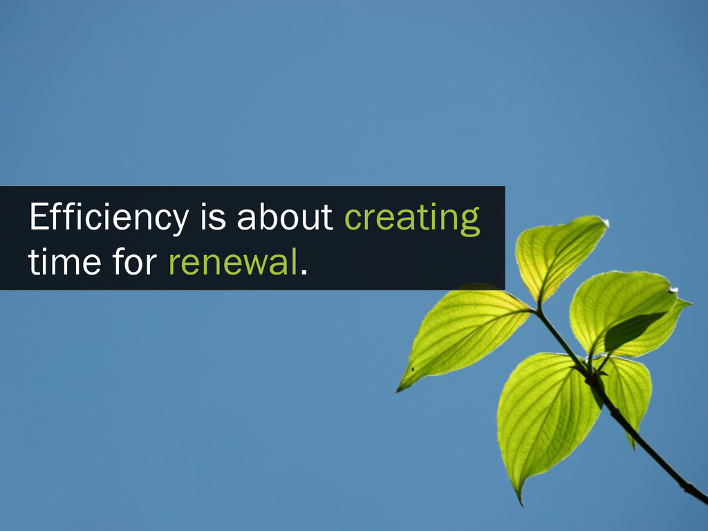 Efficiency is about creating time for renewal.