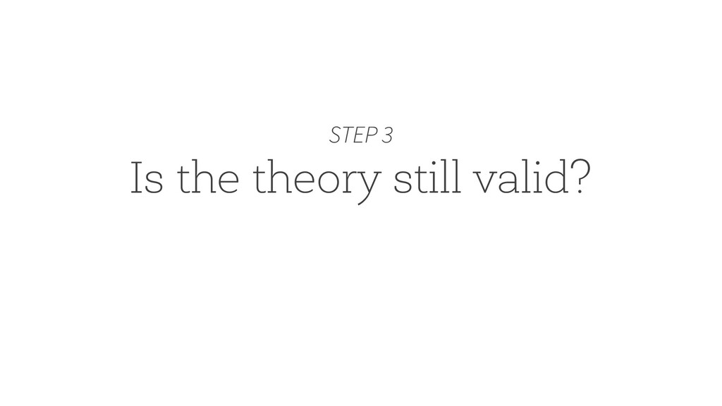 Is the theory still valid? STEP 3