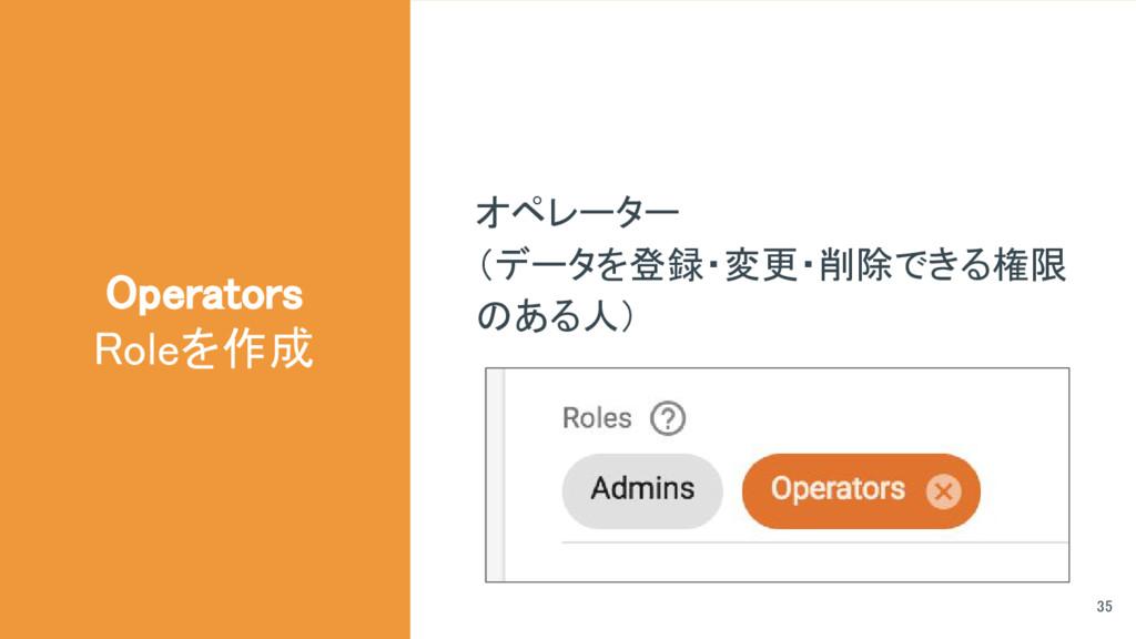 オペレーター (データを登録・変更・削除できる権限 のある人) Operators Roleを...