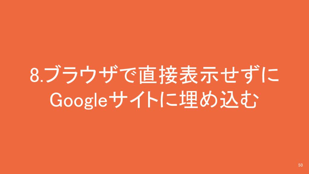 8.ブラウザで直接表示せずに Googleサイトに埋め込む 50