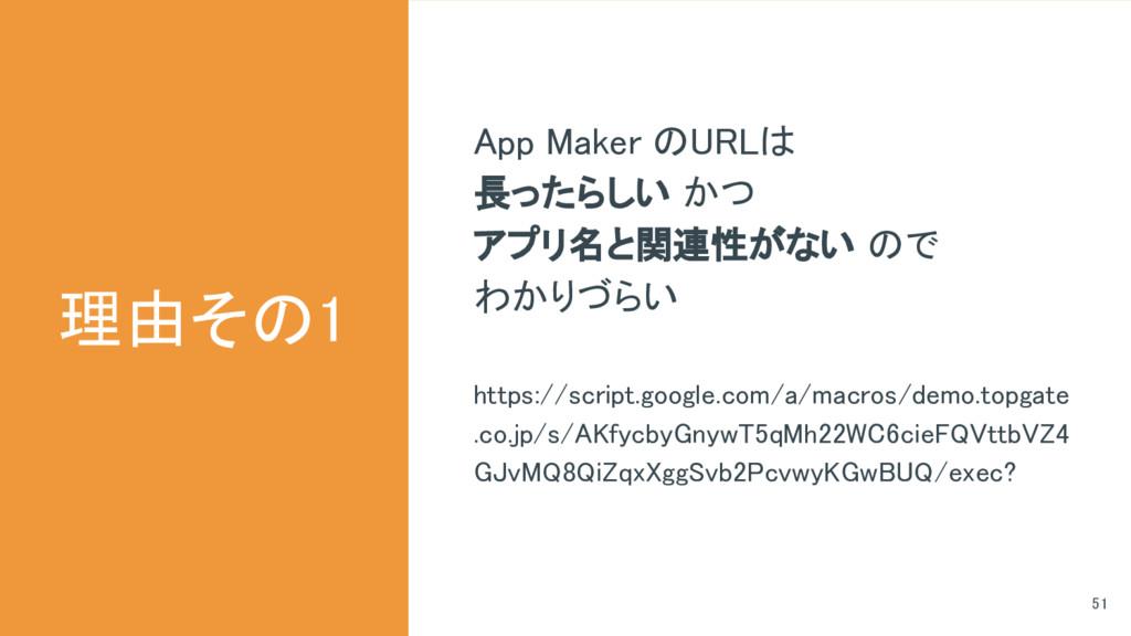 理由その1 51 App Maker のURLは 長ったらしい かつ アプリ名と関連性がない ...