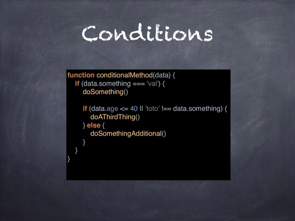 Conditions function conditionalMethod(data) { i...