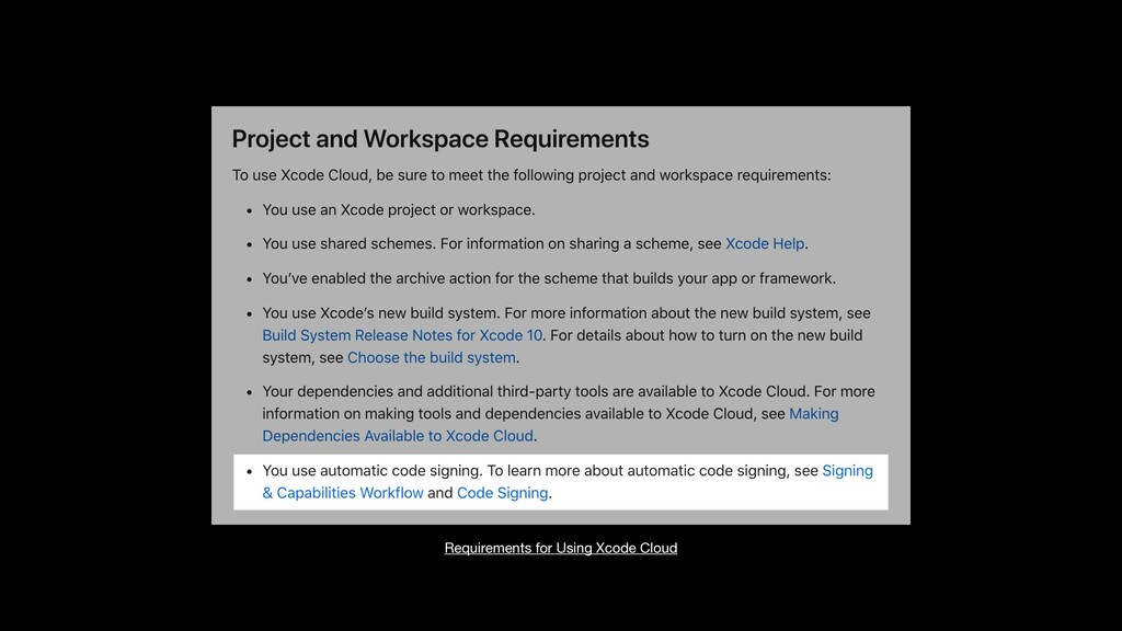 Requirements for Using Xcode Cloud