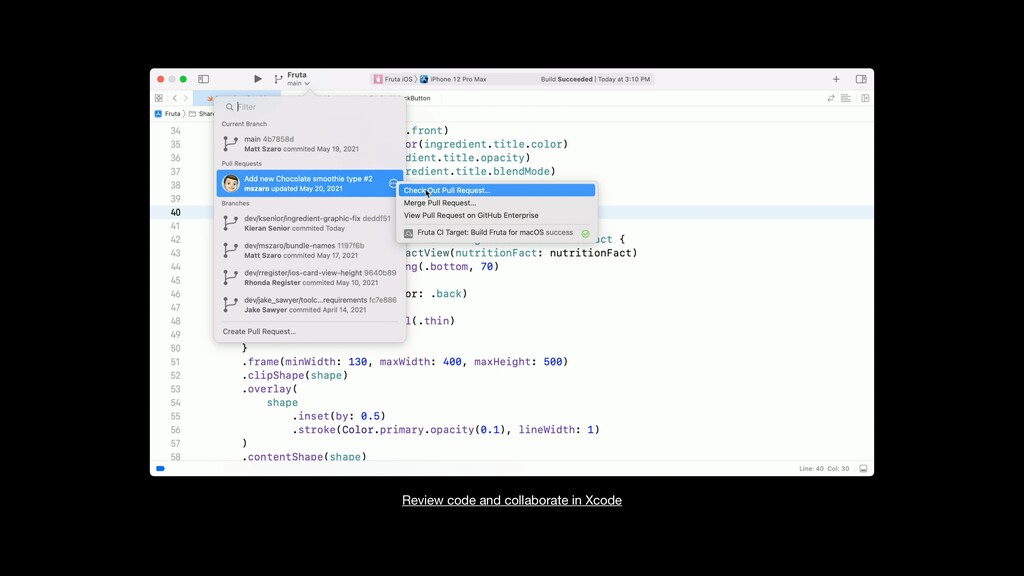 Review code and collaborate in Xcode
