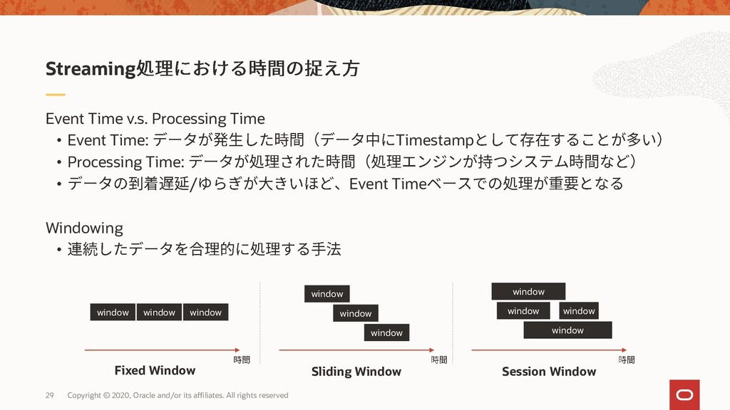 29 Event Time v.s. Processing Time • Event Time...