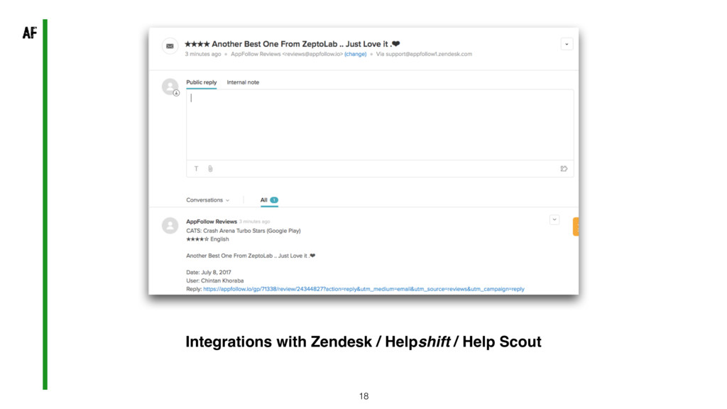 18 Integrations with Zendesk / Helpshift / Help...