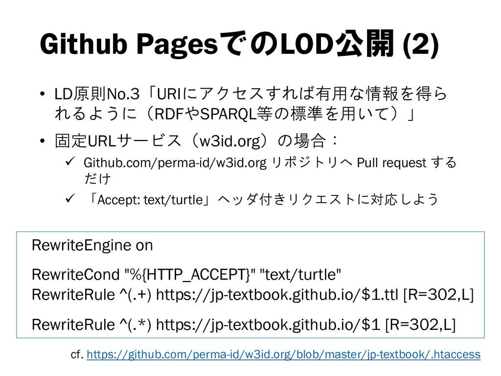Github PagesでのLOD公開 (2) • LD原則No.3「URIにアクセスすれば有...