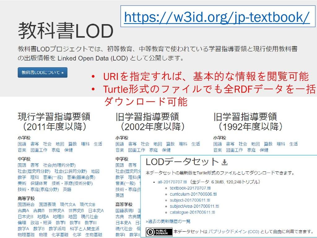 5 https://w3id.org/jp-textbook/ • URIを指定すれば、基本的...