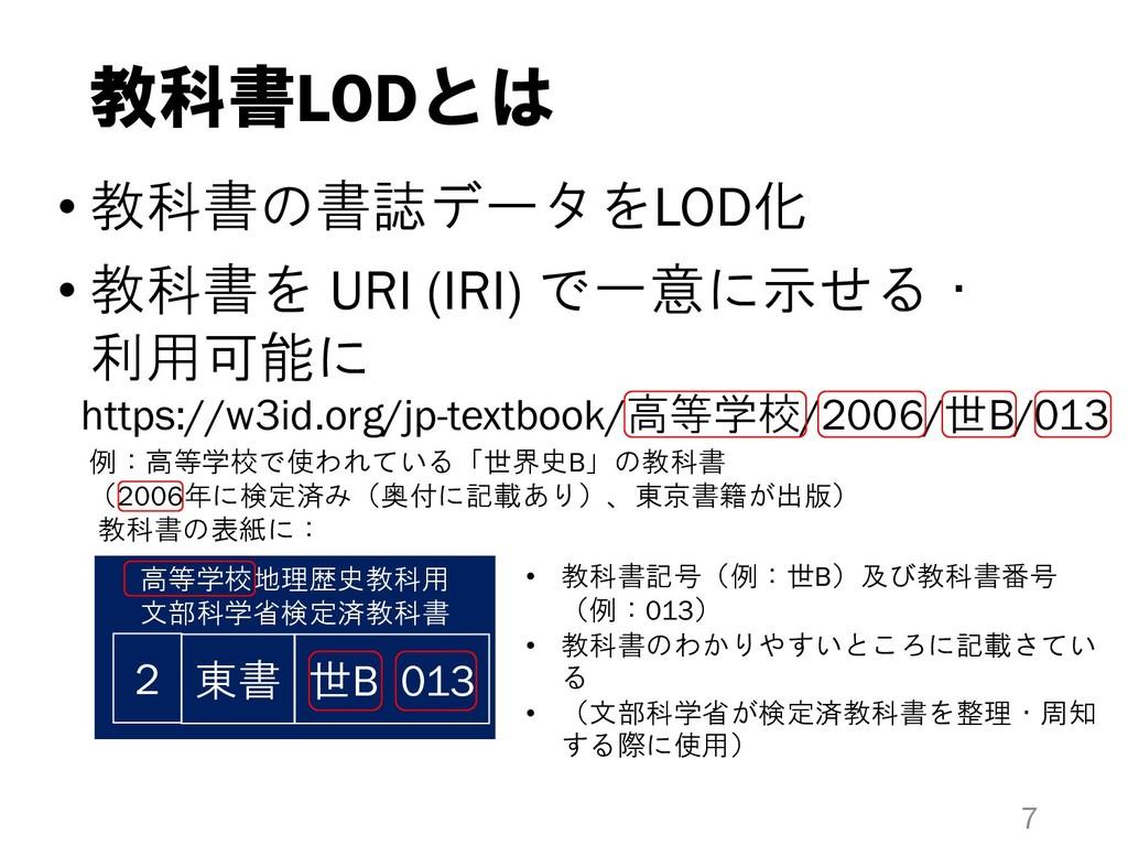 教科書LODとは • 教科書の書誌データをLOD化 • 教科書を URI (IRI) で一意に...