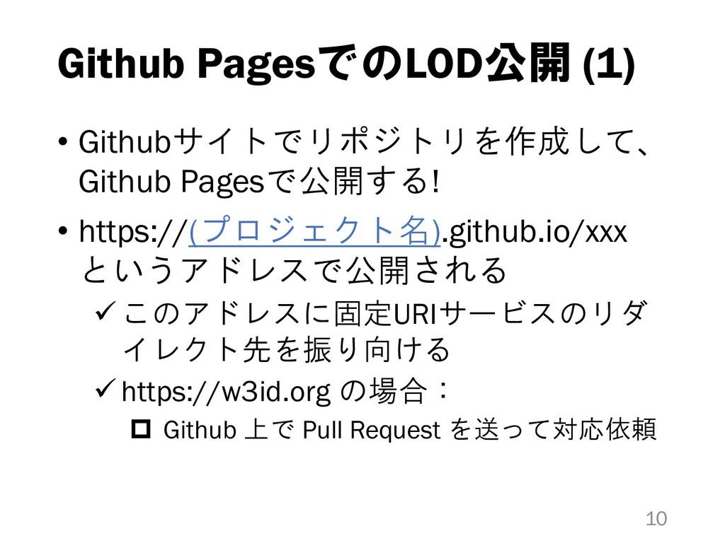 Github PagesでのLOD公開 (1) • Githubサイトでリポジトリを作成して、...