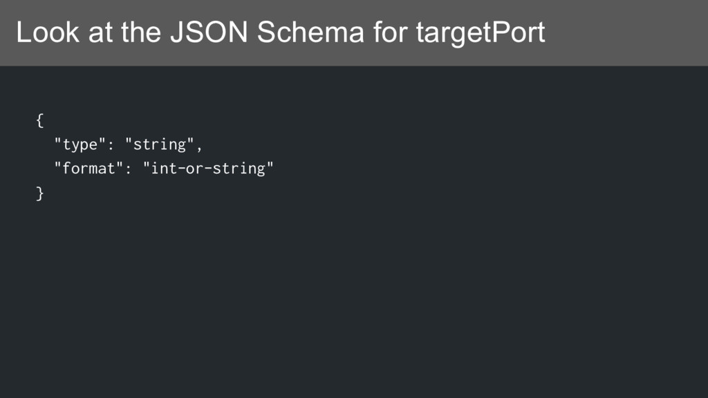 """Look at the JSON Schema for targetPort { """"type""""..."""