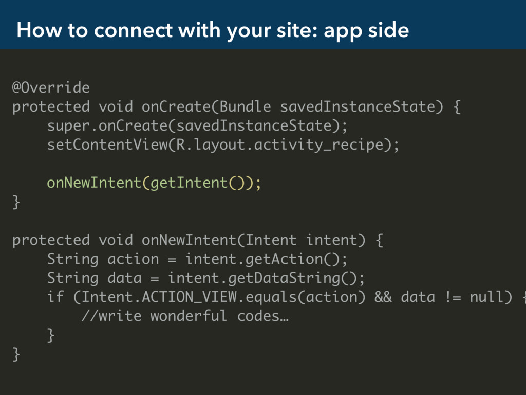 How to connect with your site: app side @Overri...
