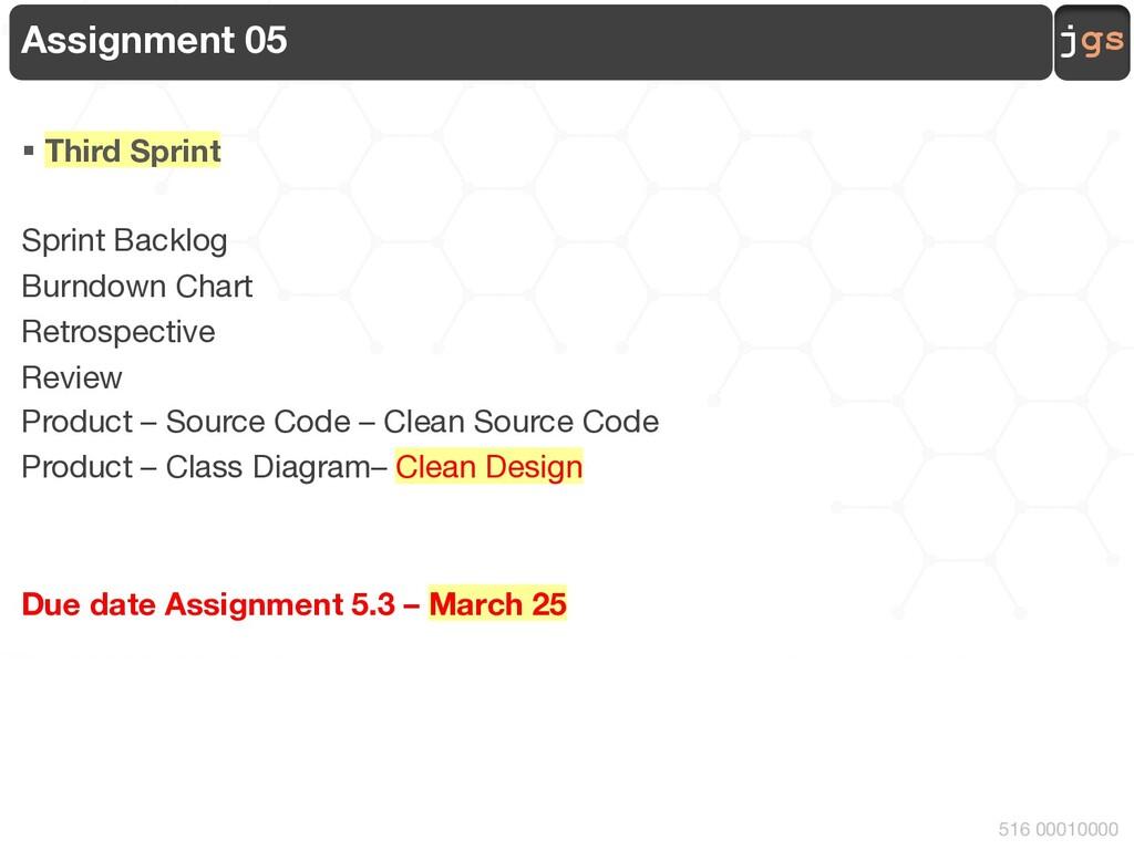 jgs 516 00010000 Assignment 05 § Third Sprint S...
