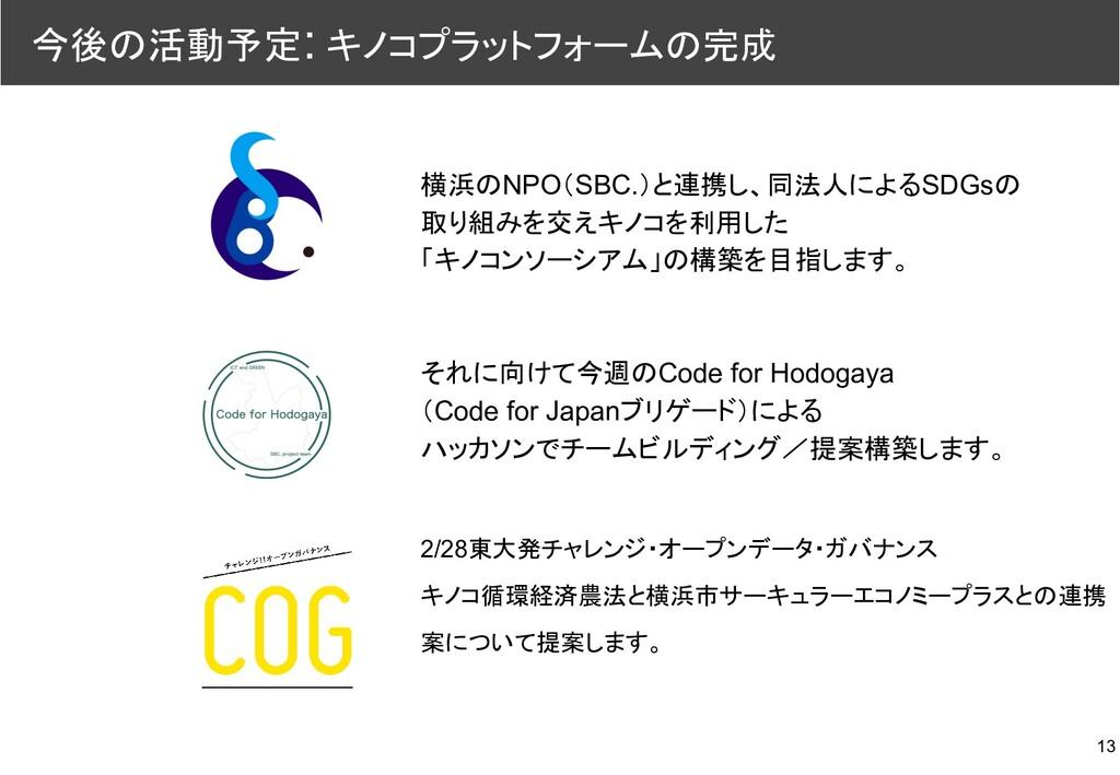 13 今後の活動予定: キノコプラットフォームの完成 横浜のNPO(SBC.)と連携し、同法人...