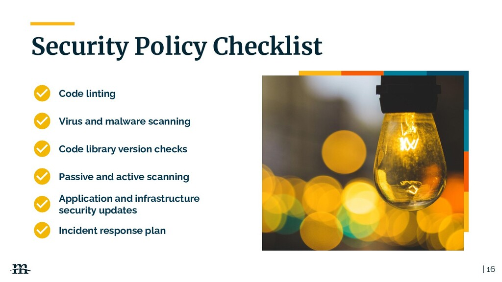 | 16 Security Policy Checklist Code linting Vir...