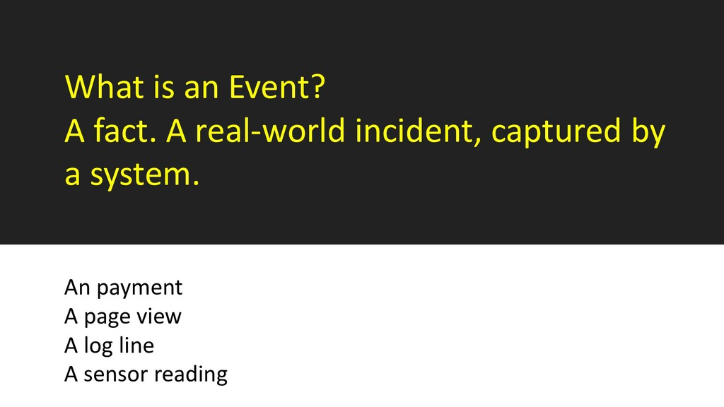 What is an Event? A fact. A real-world incident...