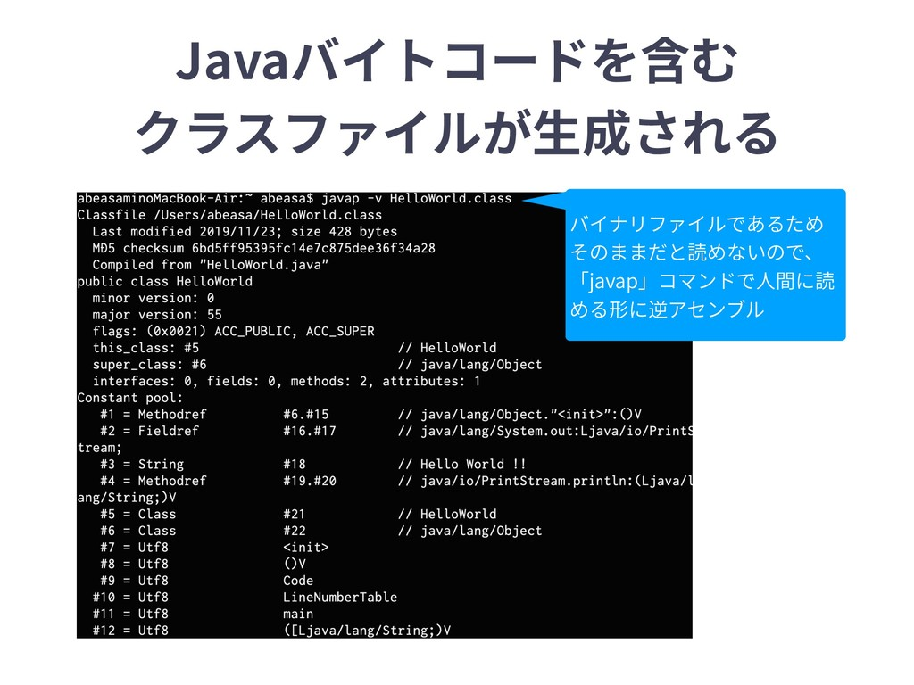 Javaバイトコードを含む クラスファイルが⽣成される バイナリファイルであるため そのままだ...