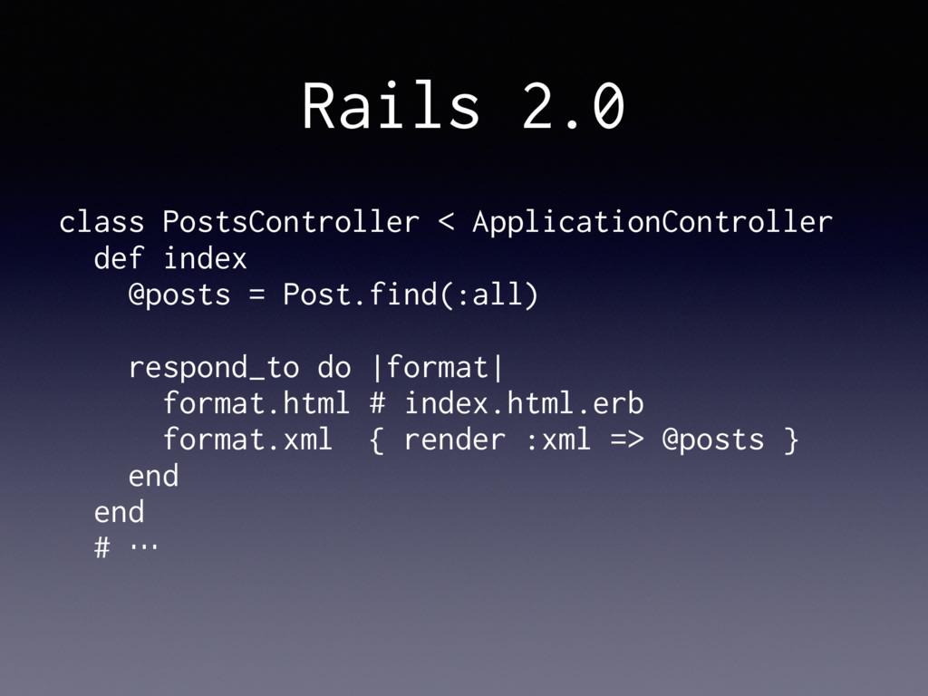 Rails 2.0 class PostsController < ApplicationCo...