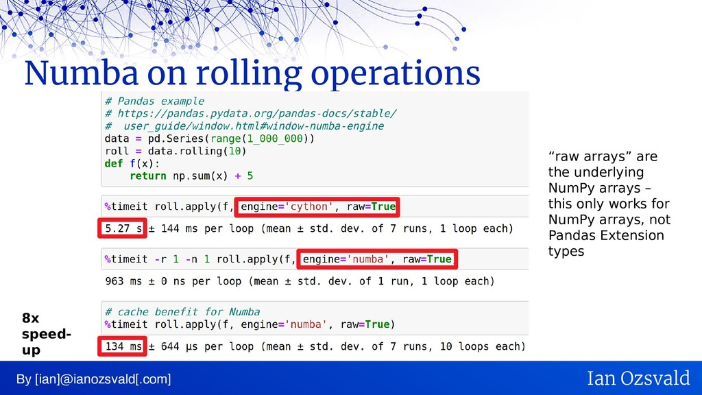 Numba on rolling operations By [ian]@ianozsvald...