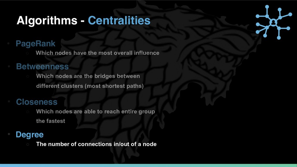 Algorithms - Centralities • Closeness ○ Which n...