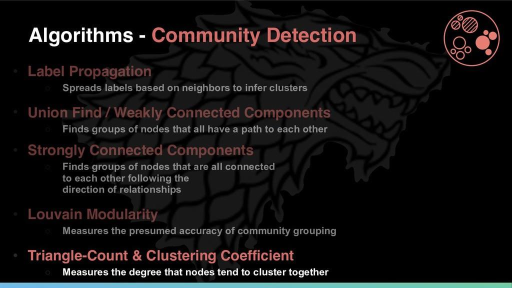Algorithms - Community Detection • Label Propag...