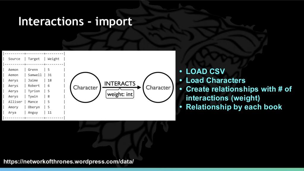 Interactions - import • LOAD CSV • Load Charact...