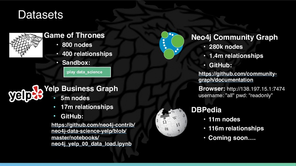 Game of Thrones • 800 nodes • 400 relationships...