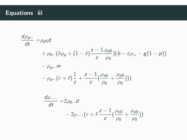 Equations iii dρp− dt =ρp0d + ρ0−(δρp + (1 − δ)...