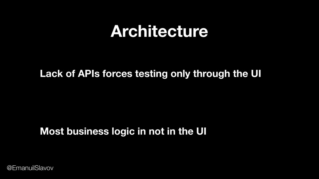 Lack of APIs forces testing only through the UI...