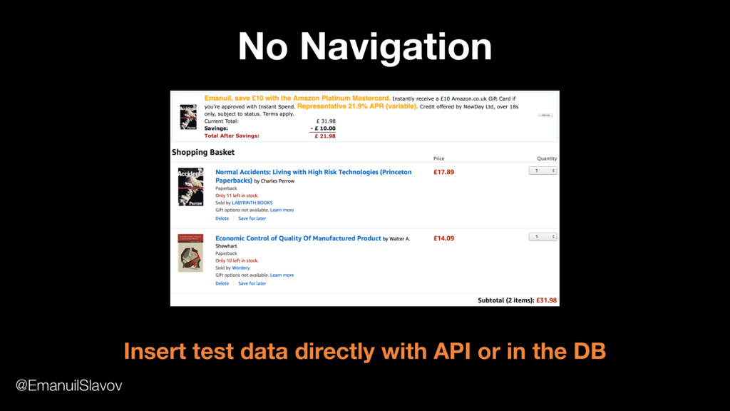 No Navigation Insert test data directly with AP...