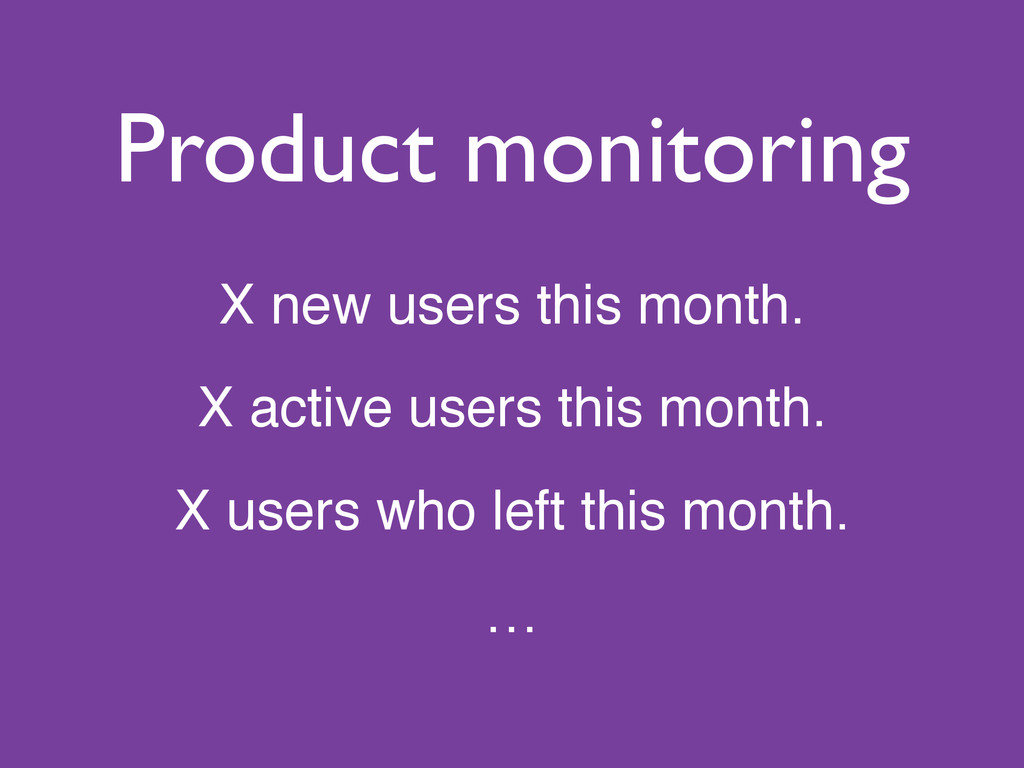 Product monitoring X new users this month.! X a...