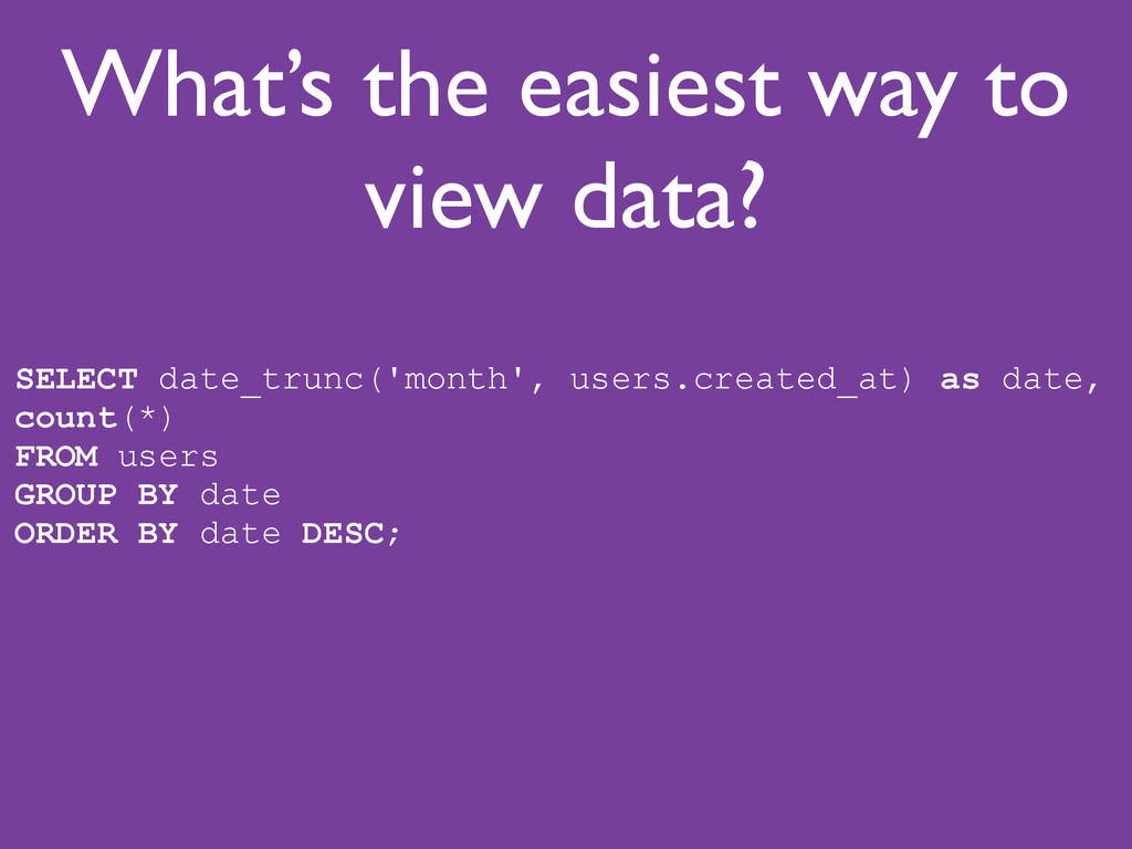 What's the easiest way to view data? SELECT dat...