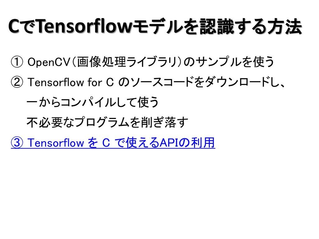 CでTensorflowモデルを認識する方法 ① OpenCV(画像処理ライブラリ)のサンプル...